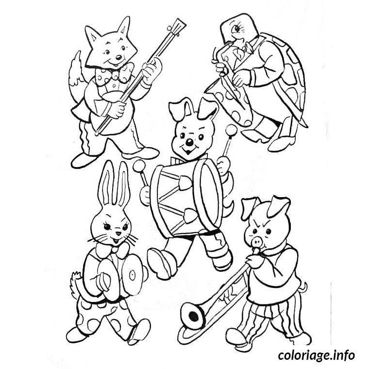 Coloriage animaux jouent de la musique - Coloriage musique a imprimer ...