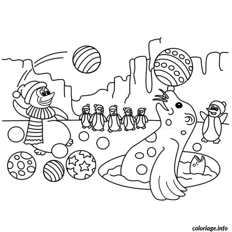 Coloriage animaux banquise dessin - Coloriage de phoque ...
