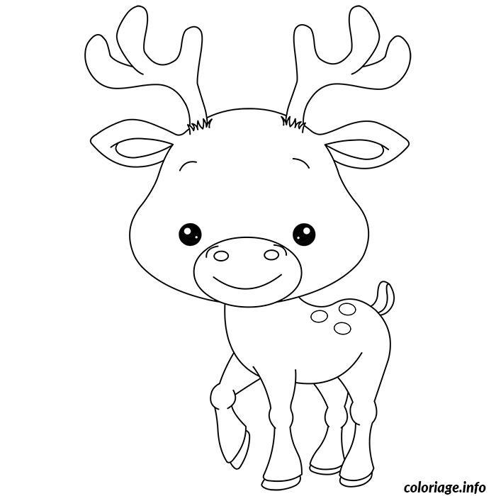 Coloriage de bebe renne - Dessin de renne au nez rouge ...
