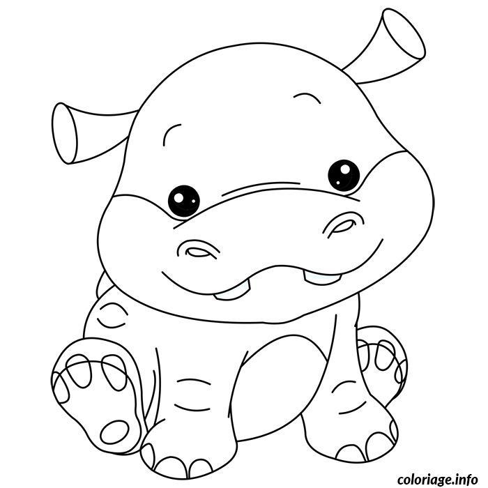 Coloriage bebe hippopotame dessin - Jeux de mignon gratuit ...