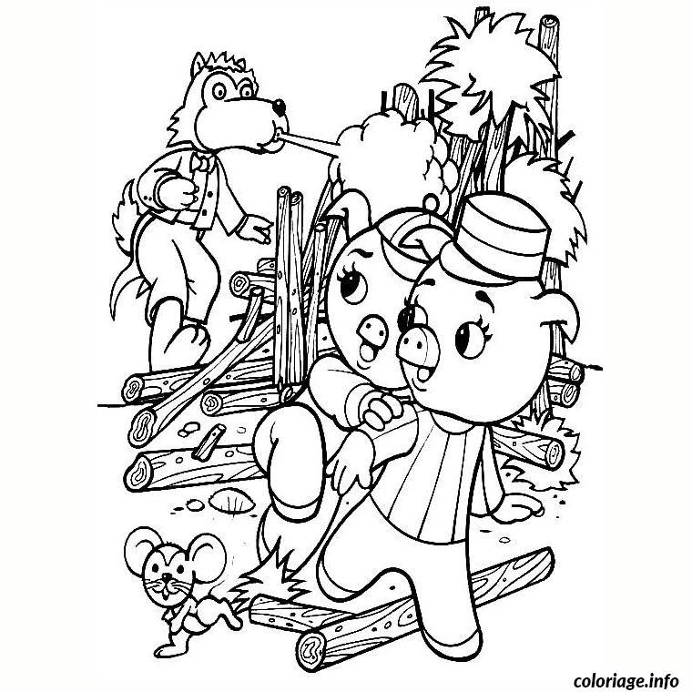 Coloriage loup et cochons dessin - Dessin a imprimer cochon ...