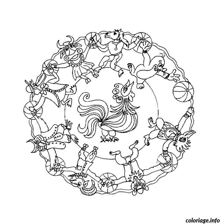Coloriage Mandala Animaux Dessin