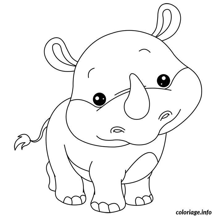 Coloriage En Ligne Rhinoceros.Coloriage De Bebe Rhinoceros Dessin