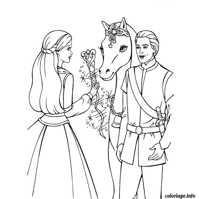 Coloriage barbie cheval magique dessin for Multiplication cheval