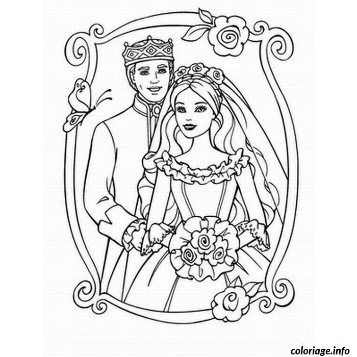 coloriage mariage barbie et ken dessin imprimer