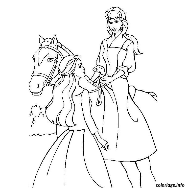 Coloriage cheval barbie dessin - Barbie a colorier ...