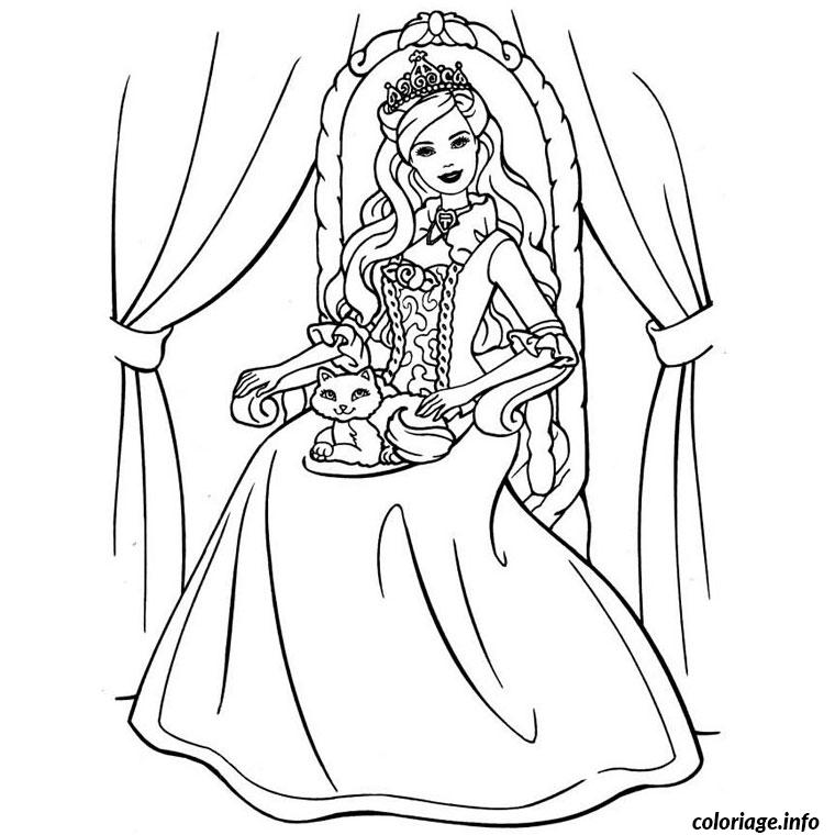 Coloriage barbie 12 princesses dessin - Barbie princesse coloriage ...