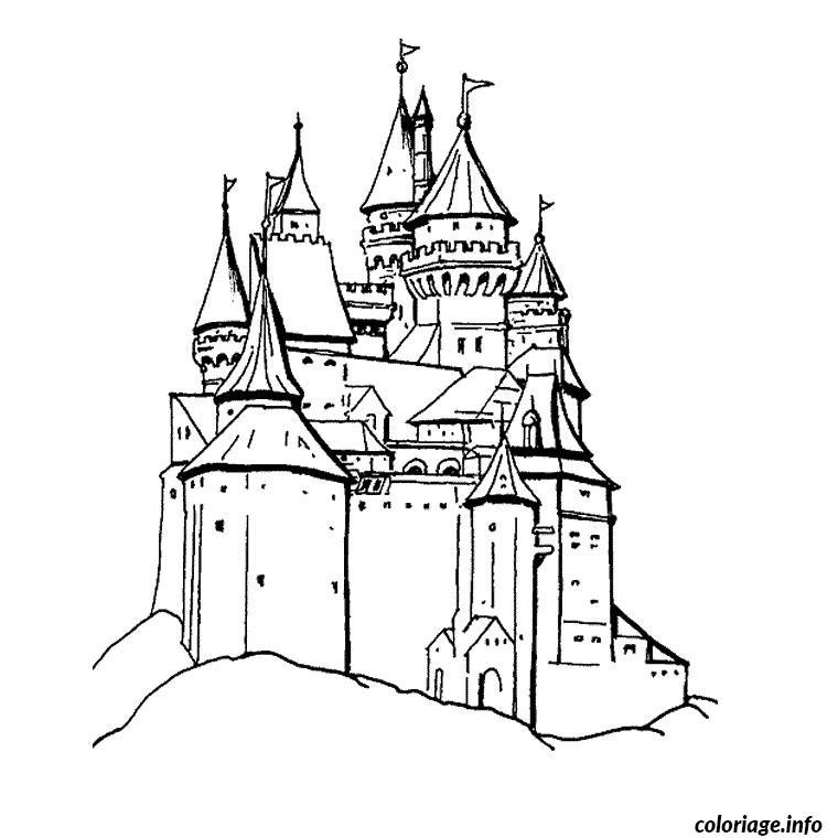 Coloriage chevalier et chateau - Dessin chevalier ...