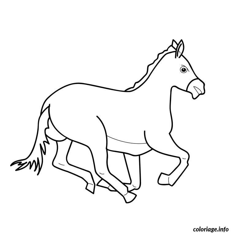 Dessin cheval au galop Coloriage Gratuit à Imprimer