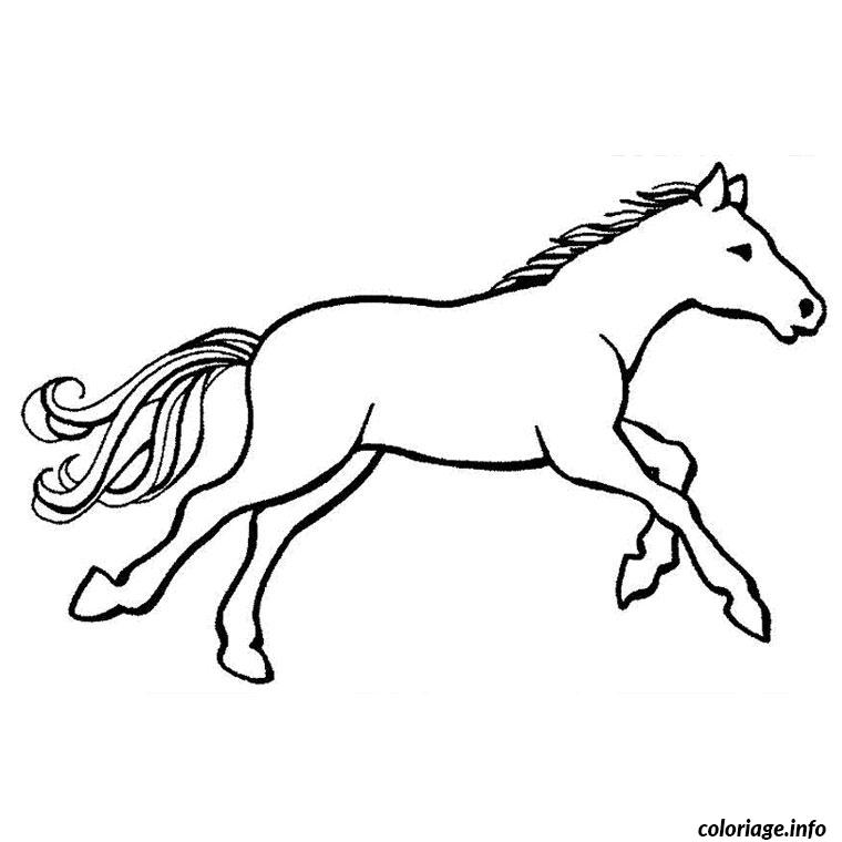 Coloriage chevaux au galop dessin - Dessiner un cheval simple ...