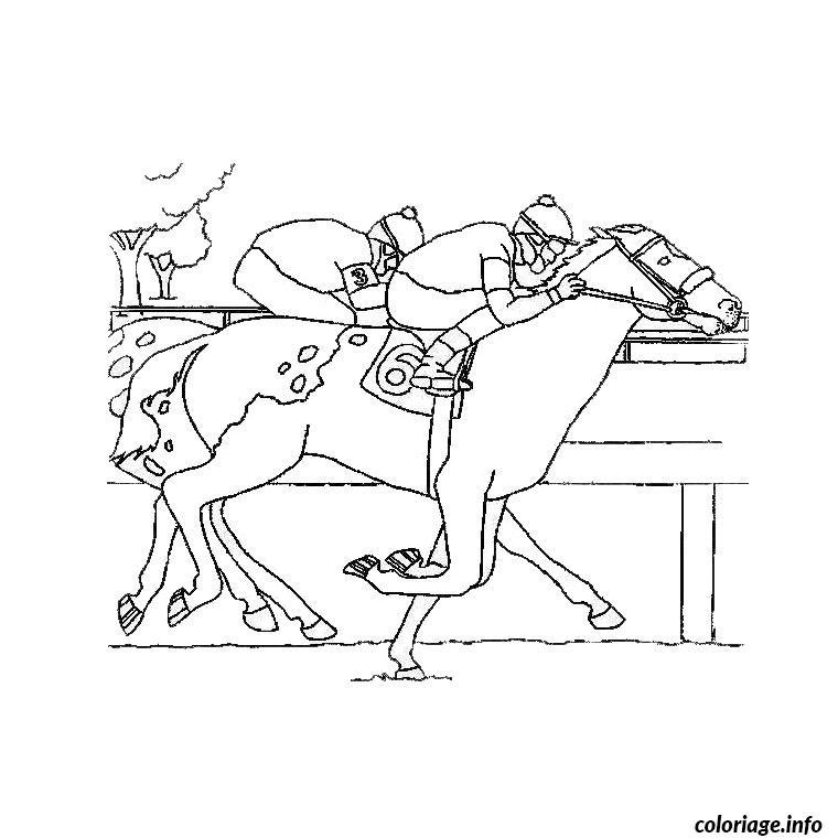 Dessin cheval de course Coloriage Gratuit à Imprimer