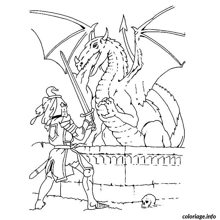 Coloriage Dragon Chevalier Jecolorie Com