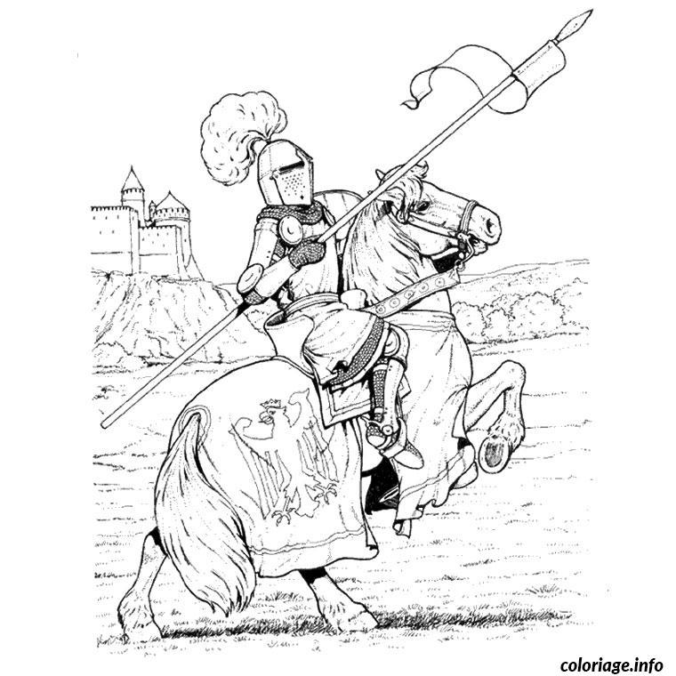 Coloriage chevalier chateau dessin - Coloriage de chateau ...