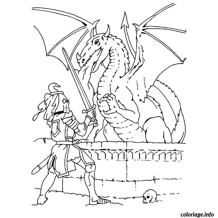 Coloriage chevalier et dragon - Chevalier dessin ...