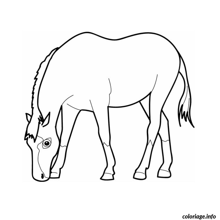 Coloriage cheval simple dessin - Imprimer un cheval ...