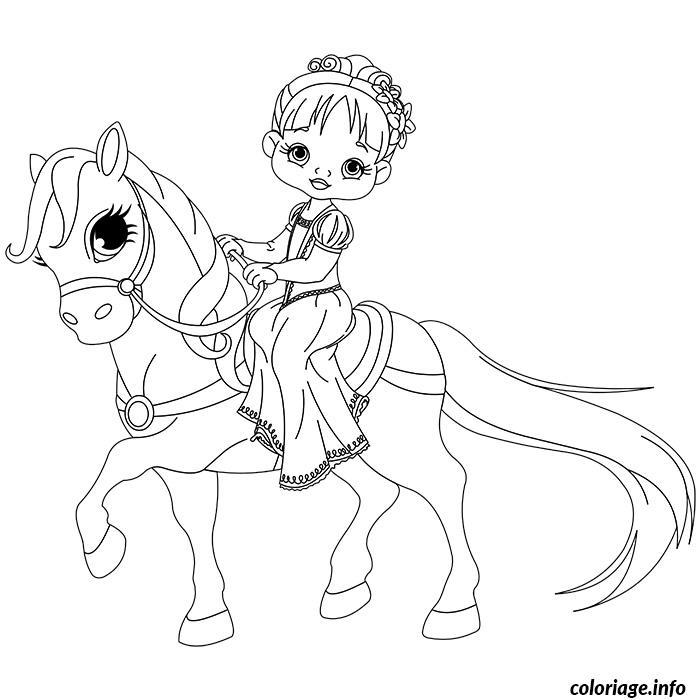 Dessin de princesse a cheval Coloriage Gratuit à Imprimer