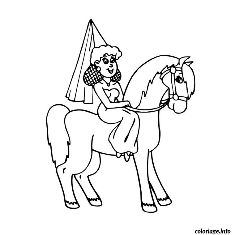 Coloriage cheval de princesse dessin - Chevaux a colorier ...