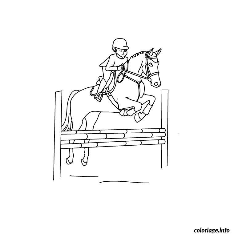 Coloriage cheval obstacle dessin - Jeux de poney qui saute ...