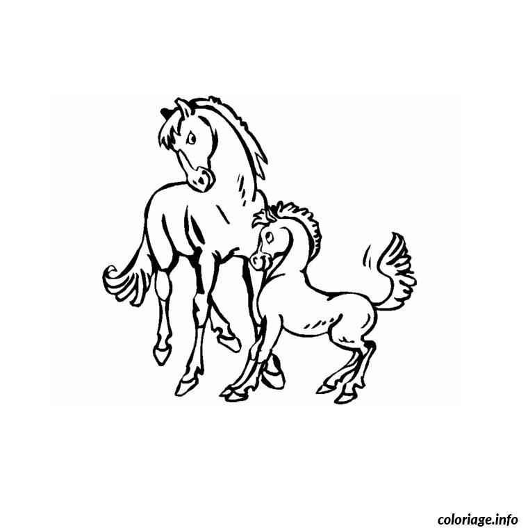 Dessin chevaux et poulain Coloriage Gratuit à Imprimer
