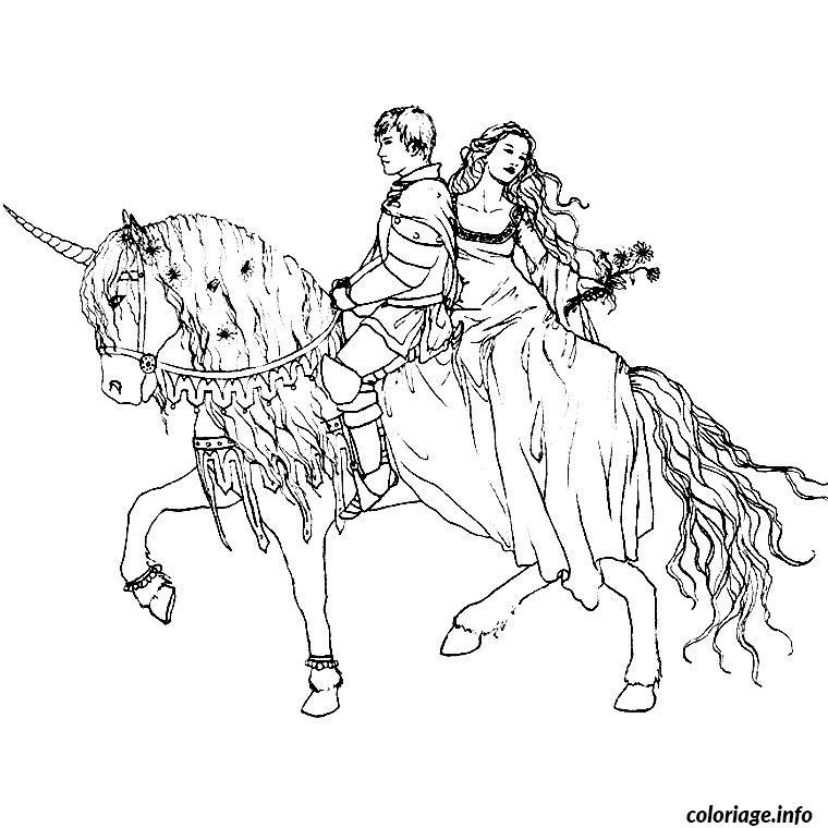 Coloriage cheval et princesse - Dessin a colorier cheval ...