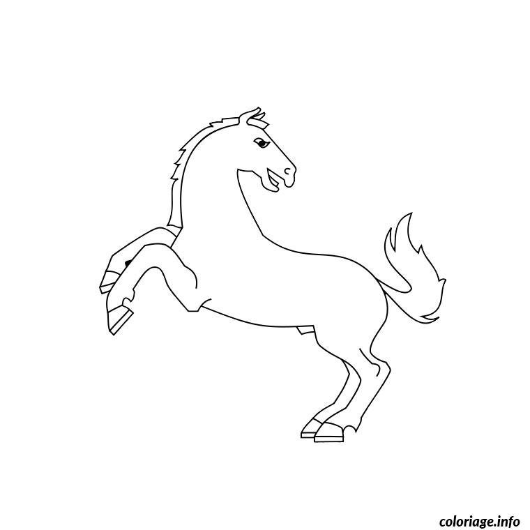 Coloriage cheval qui se cabre dessin - Dessiner un cheval simple ...