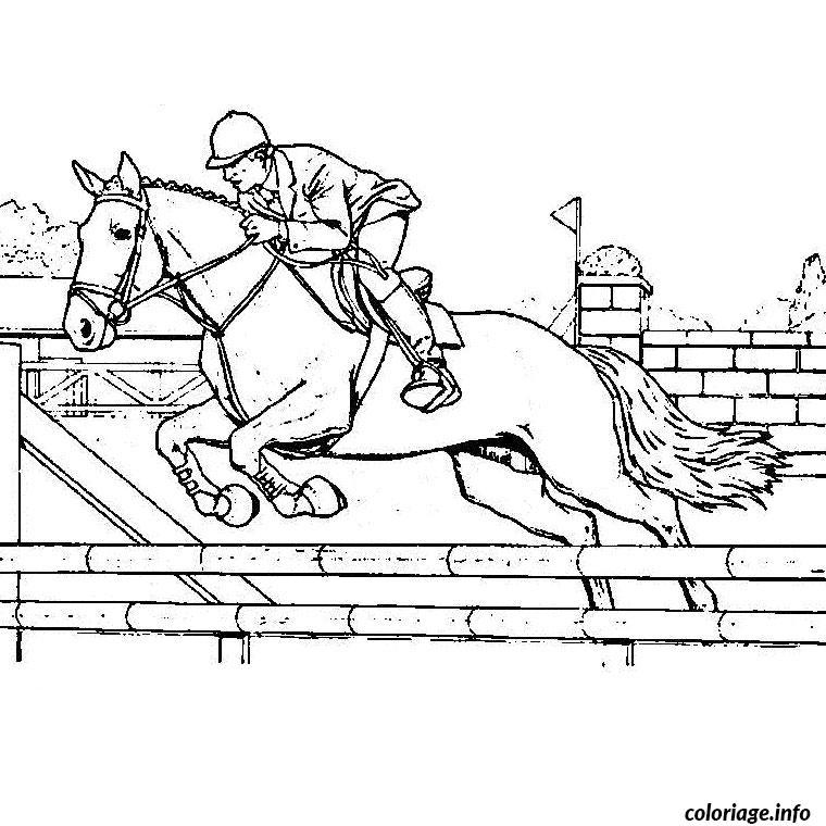 Coloriage chevaux saut - Dessin cavaliere ...