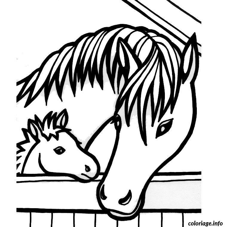 Coloriage de chevaux - Dessin cheval facile faire ...