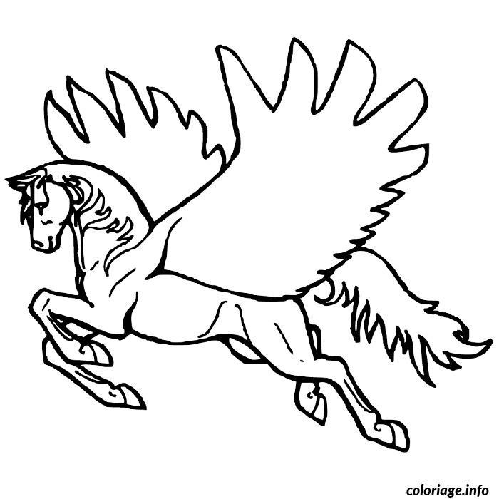Dessin cheval pegase Coloriage Gratuit à Imprimer
