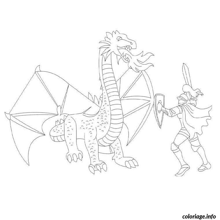 Coloriage dragon et chevalier dessin - Dessin d un dragon ...