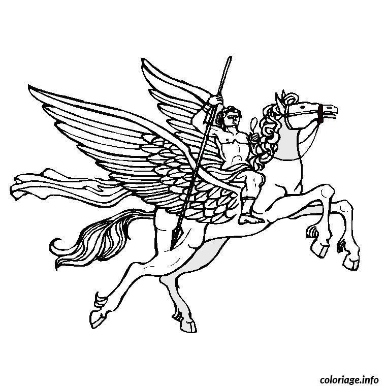 Coloriage cheval aile - Dessin a colorier cheval ...