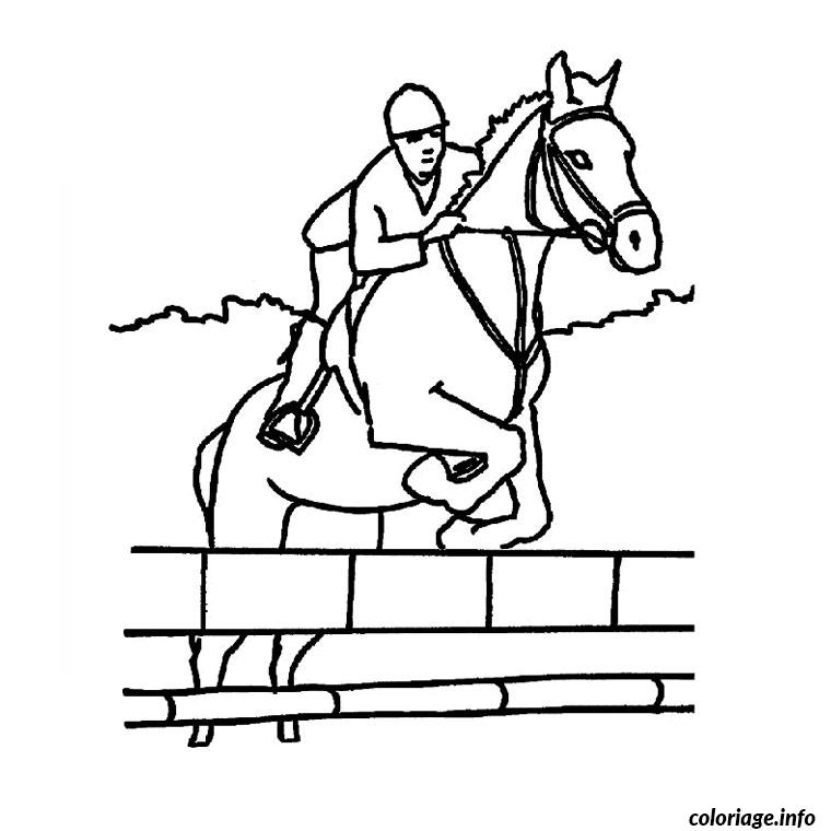 Coloriage cheval saut d obstacle dessin - Coloriages cheval ...