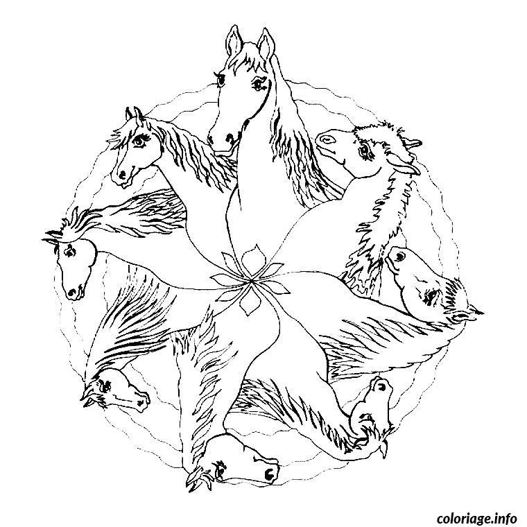 Coloriage cheval mandala dessin - Dessin a colorier cheval ...