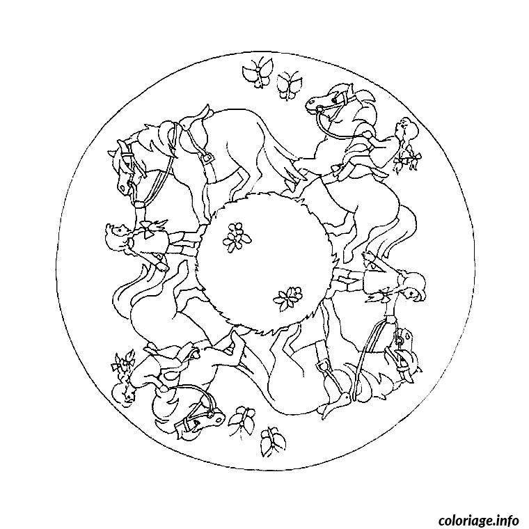 Paarden Kleurplaten Uitprinten Coloriage Mandala De Cheval Jecolorie Com