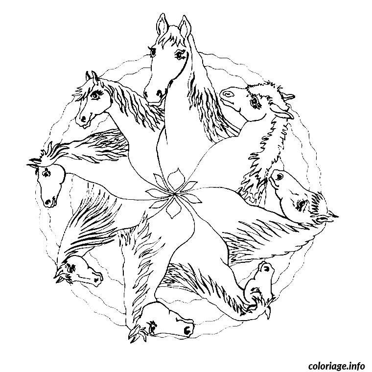 Coloriage mandala de chevaux dessin - Dessins de mandala ...