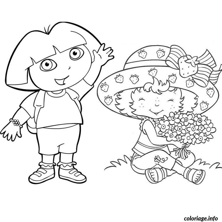Coloriage Dora Et Charlotte Aux Fraise dessin