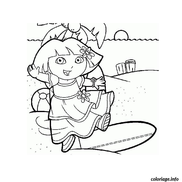 Dessin dora a la mer Coloriage Gratuit à Imprimer
