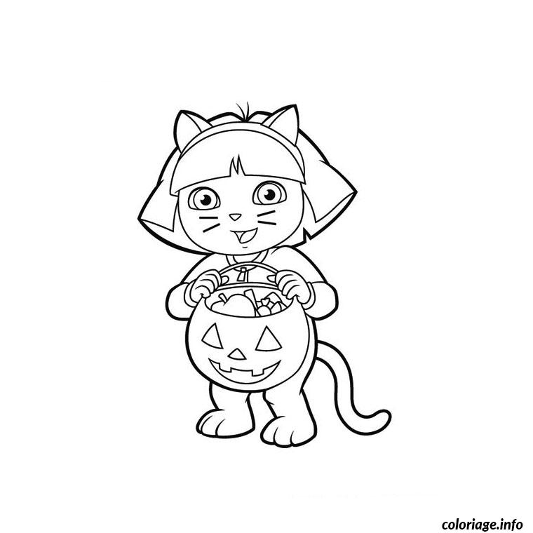 Coloriage Dora Halloween Dessin Dora A Imprimer