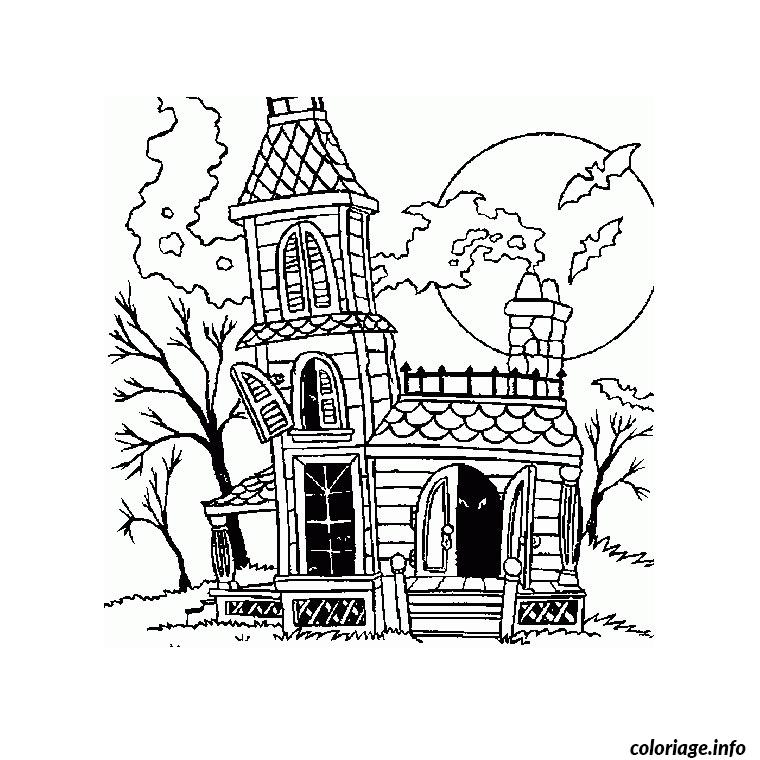 Coloriage halloween maison dessin for Dessin maison en ligne