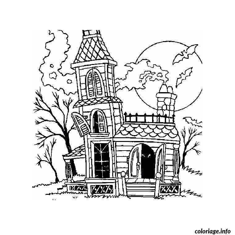 Coloriage Halloween Maison Dessin