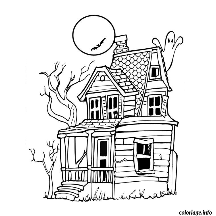 Coloriage halloween maison hantee for Dessin de maisons