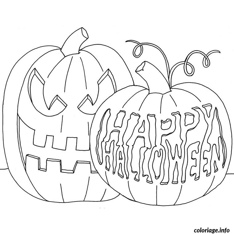 citrouilles decorees happy halloween coloriage dessin 505