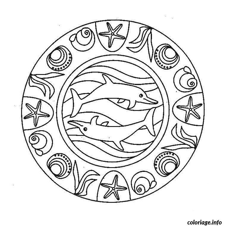 Coloriage dauphin mandala - JeColorie.com