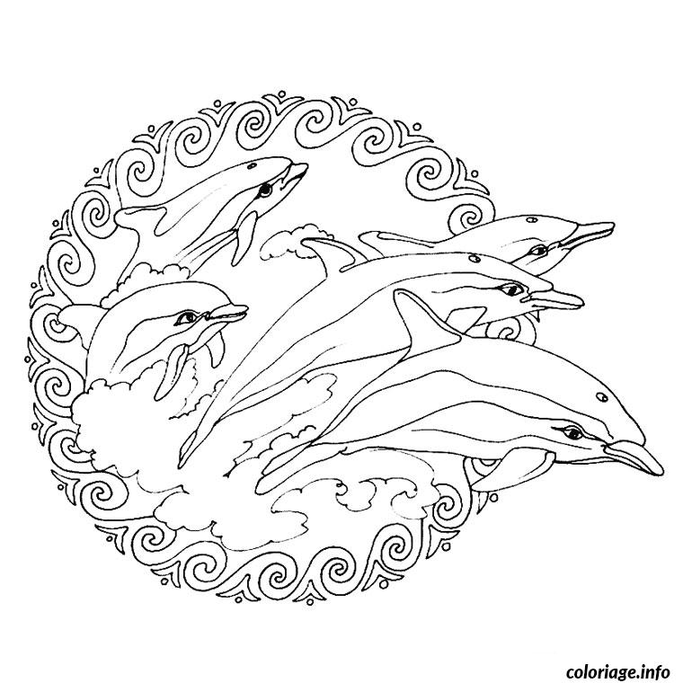 Dessin mandala dauphin Coloriage Gratuit à Imprimer