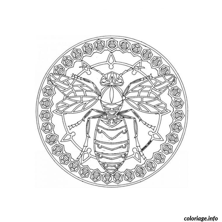 Dessin mandala abeille Coloriage Gratuit à Imprimer