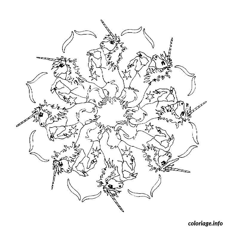 Coloriage mandala licorne dessin - Coloriages licorne ...