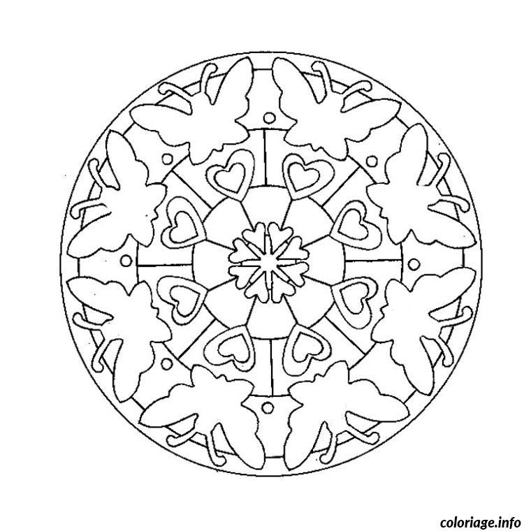 mandala de papillon coloriage dessin 559