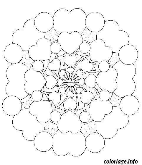 Coloriage mandala en coeur dessin - Mandala a colorier en ligne ...