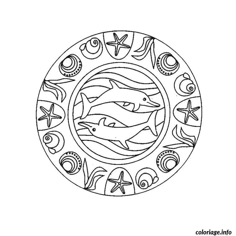 Dessin mandala mer Coloriage Gratuit à Imprimer