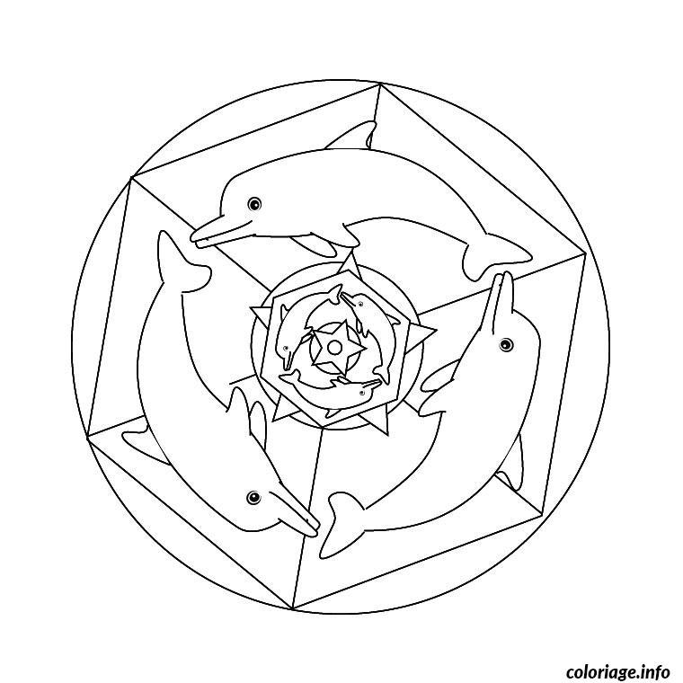 mandala de dauphin coloriage 587