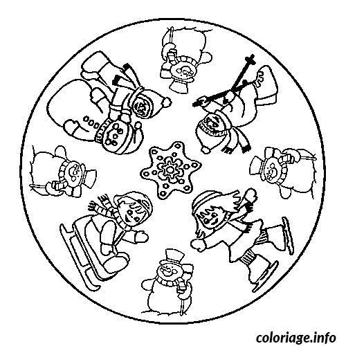 Dessin mandala hiver Coloriage Gratuit à Imprimer
